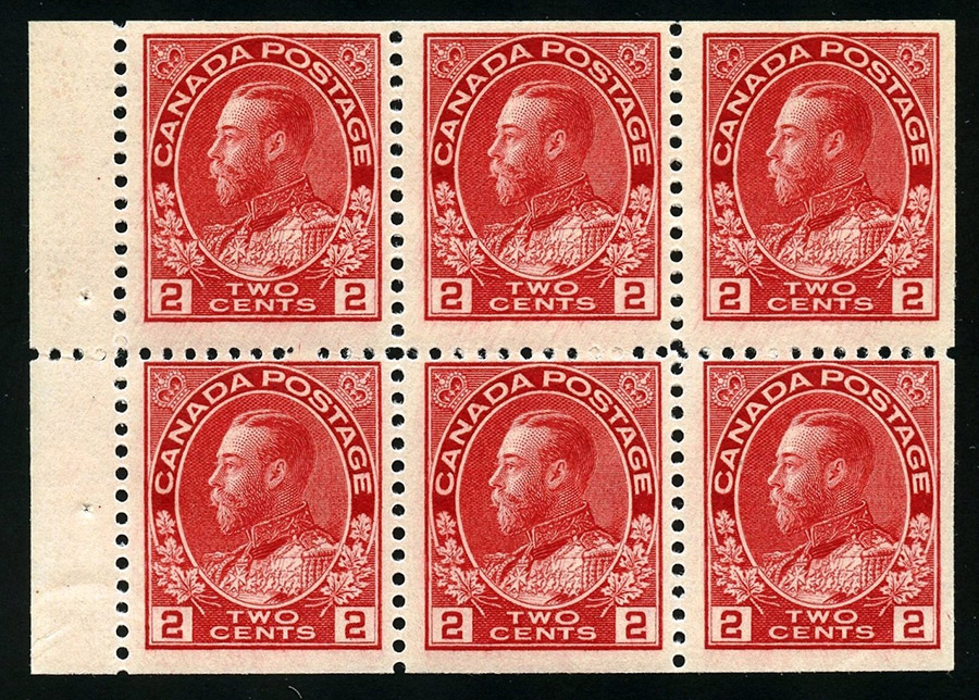 Roi Georges V - 2 cents 1911 - Timbre du Canada - Booklet pane of 6 stamps