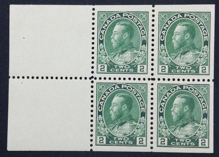 Roi Georges V - 2 cents 1922 - Timbre du Canada - Booklet of 4 stamps + 2 labels